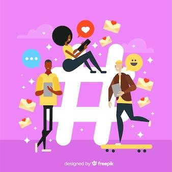 Twitter-hashtag. jugendliche in den sozialen medien. charakter-design.