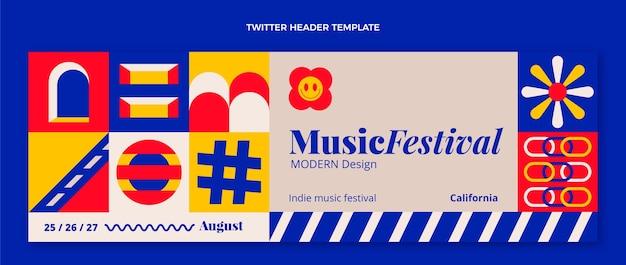 Twitter-header des flachen mosaik-musikfestivals