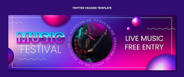 Twitter-header des musikfestivals mit farbverlauf