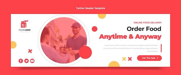 Twitter-header für essensbestellung im flachen design