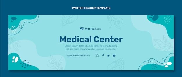 Twitter-header für medizinisches zentrum im flachen design