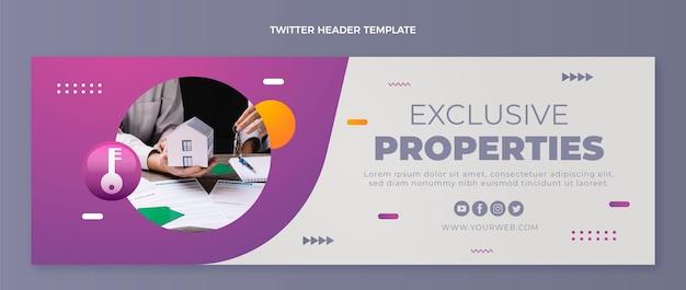 Twitter-header-vorlage für immobilien mit farbverlauf