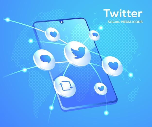 Twitter social media icons mit smartphone-symbol