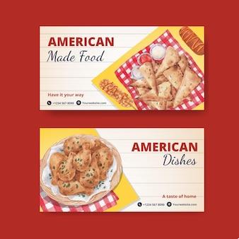 Twitter-vorlage mit amerikanischem lebensmittelkonzept, aquarellstil