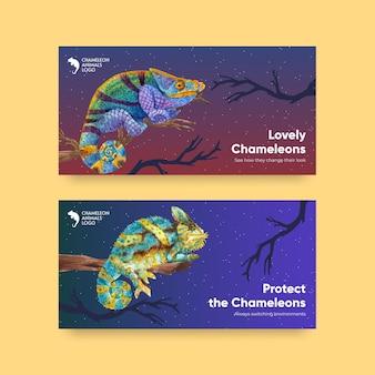Twitter-vorlage mit chamäleon-eidechse im aquarell-stil