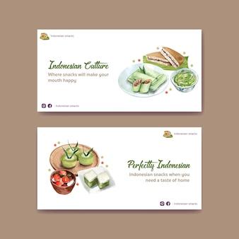 Twitter-vorlage mit indonesischem snack