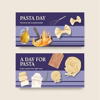 Twitter-vorlage mit pasta-cancept, aquarell-stil