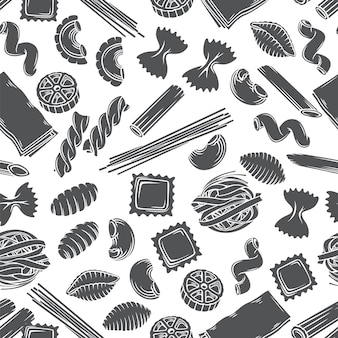Typen italienische pasta nahtloses muster monochrome glyphe isoliert