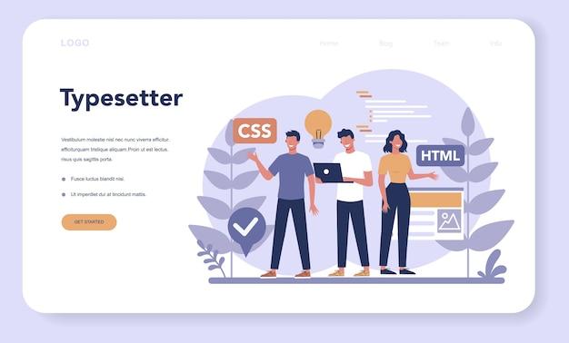 Typersetter web landing page. website-erstellung. prozess der erstellung einer website, codierung, programmierung, erstellung einer schnittstelle und erstellung von inhalten. isolierte vektorillustration