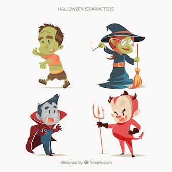 Typische charaktere von halloween in einem süßen stil