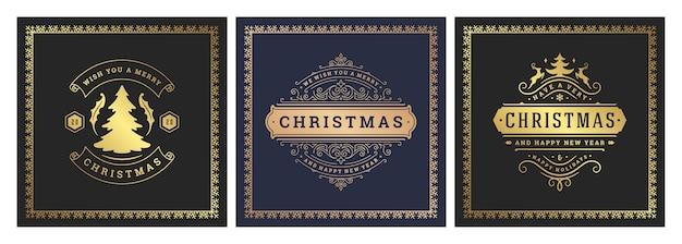 Typisches design des verzierten dekorationssymbols der weihnachtsquadratfahnen mit feiertagswünschen