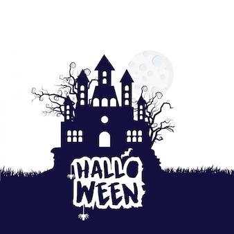 Typisches design halloween-party mit weißem hintergrund