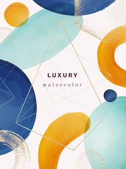 Typografie-cover modernes design mit geometrischen aquarellformen und abstrakten pinseln goldglitter