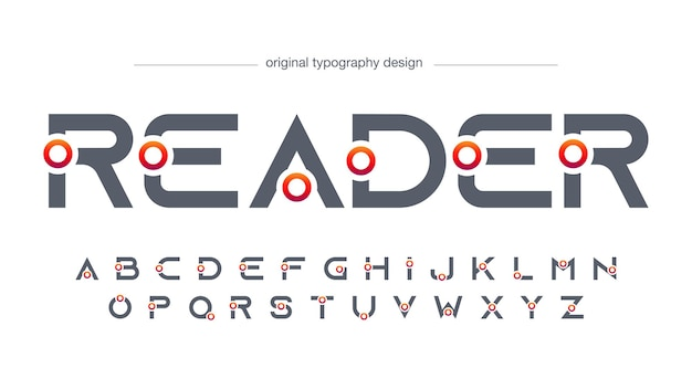 Typografie des futuristischen kreises mit scharfen kanten