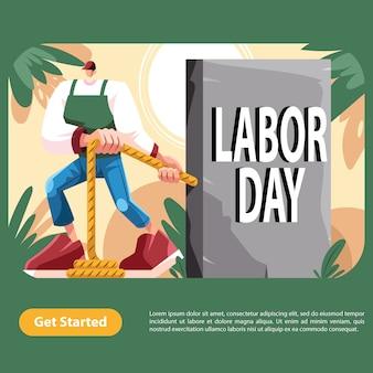 Typografie des mitarbeiter-pull-labor-day