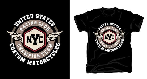 Typografie des new yorker rennclub mit flügel-t-shirt-design