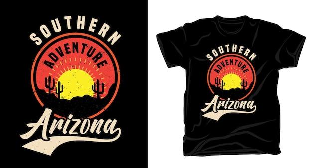 Typografie des südlichen arizona mit t-shirt-design der wüste und des sonnenuntergangs