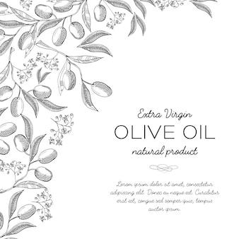 Typografie-designkarten-gekritzel mit inschrift über naturproduktillustration des nativen olivenöls extra