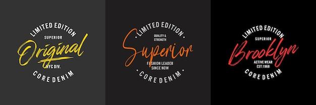 Typografie für t-shirt set design Premium Vektoren