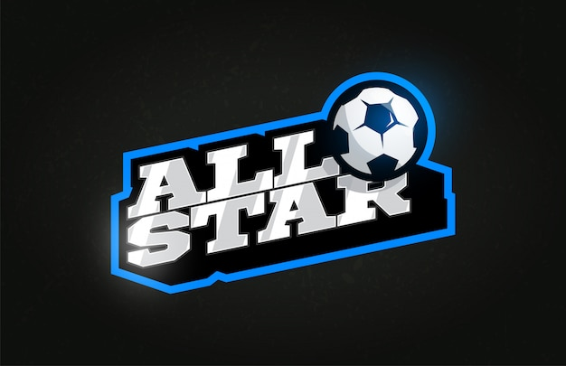 Typografie fußball oder fußball sport retro-stil emblem logo
