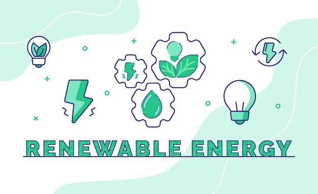 Typografie-kalligraphie-wortkunst der erneuerbaren energie mit umrissstil