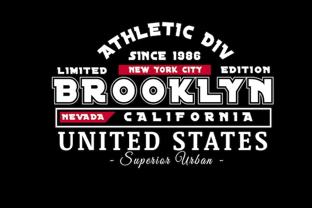 Typografie new york city brooklyn nevada kalifornien farbe weiß und rot Premium Vektoren
