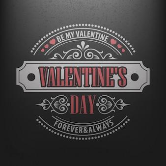 Typografie-postkarte glücklicher valentinstag auf einer tafel.