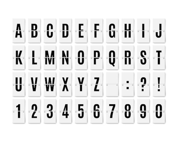 Typografie-schriftart des flughafen-flip-board-panels zeigt eine realistische mechanische analogkarte des terminals an