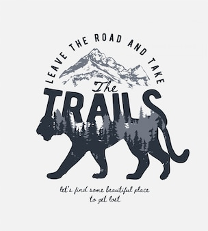 Typografie-slogan mit alpenberg und kiefernwald auf tigerschattenillustration