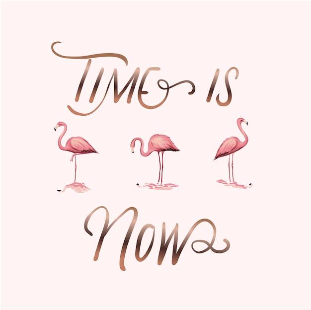 Typografie slogan mit flamingos illustration