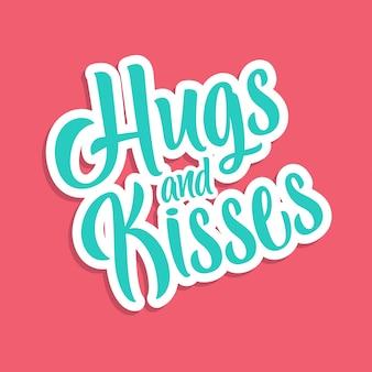 Typografie umarmungen und küsse