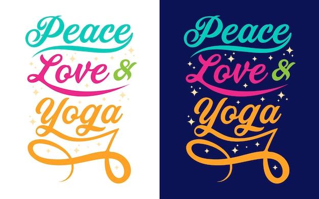 Typografie-zitate über yoga friedensliebe und yoga für aufkleber-geschenkkarte-t-shirt-tassendruck