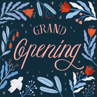 Typografie zur eröffnung mit handgezeichneter dekoration