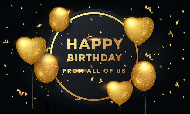 Typografieentwurf der glücklichen geburtstagsfeier mit goldenen ballons
