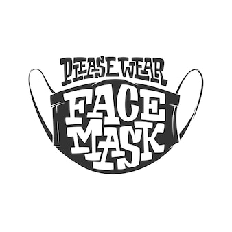 Typografieillustration mit beschriftung wear face mask bitte