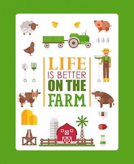 Typografieplakatleben ist auf dem bauernhof, illustration besser. lokalisierte bauernhofikonen in der flachen art, in der kuh, im schwein, im schaf und im huhn. landwirt broschüre vorlage