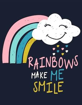 Typografieslogan mit regenbogenvektor für t-shirt druck