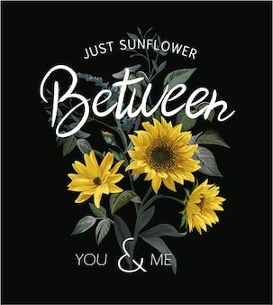 Typografieslogan mit sonnenblumenillustration