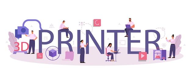 Typografische header-illustration des 3d-druckers