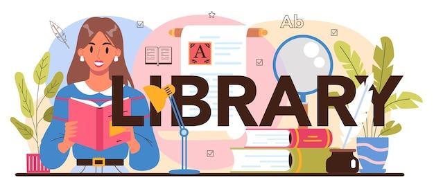 Typografische kopfzeile der bibliothek bibliotheksmitarbeiter, die bücher katalogisieren und sortieren
