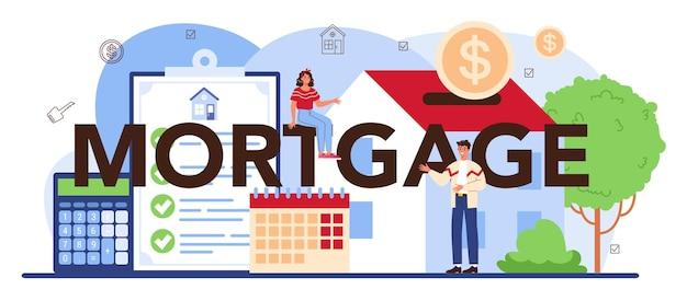 Typografische kopfzeile der hypothek. immobilienwirtschaft oder maklerassistenz