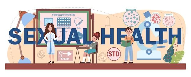 Typografische kopfzeile der sexuellen gesundheit. sexualkundeunterricht für junge leute. empfängnisverhütung, weibliches und männliches fortpflanzungssystem. isolierte vektorillustration