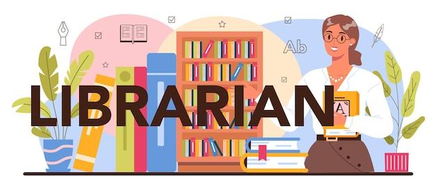 Typografische kopfzeile des bibliothekars. bibliotheksmitarbeiter katalogisieren und sortieren bücher im archiv. wissen und bildung idee. anleitung für den lesesaal der bibliothek. isolierte vektorillustration