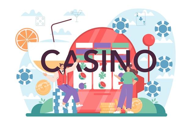 Typografische kopfzeile des casinos in uniform hinter einem glücksspielschalter