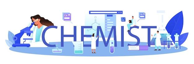 Typografische kopfzeile des chemikers