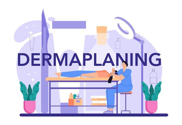 Typografische kopfzeile des dermaplaning-verfahrens. kosmetik gesichtsrasur