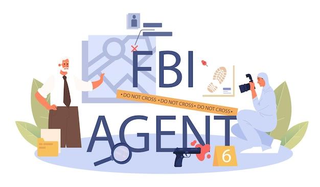 Typografische kopfzeile des fbi-agenten