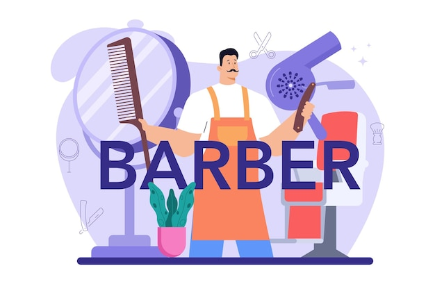 Typografische kopfzeile des friseurs. idee der haar- und bartpflege. haare schneiden