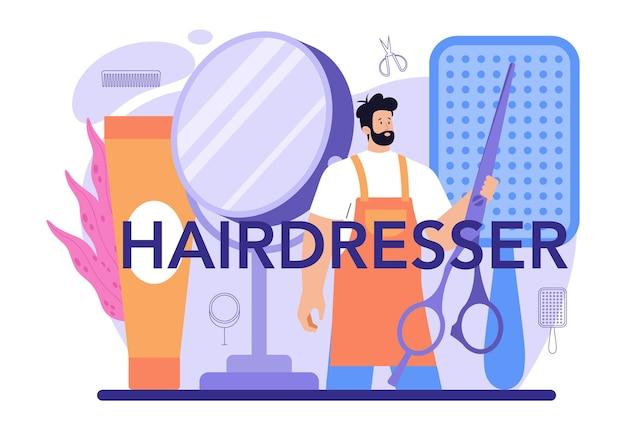 Typografische kopfzeile des friseurs. idee des friseursalons. schere und bürste, shampoo und haarschnitt. haare färben und stylen. isolierte vektorillustration
