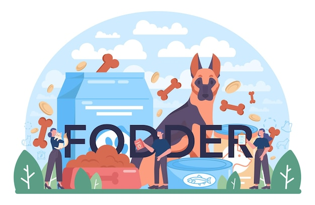 Typografische kopfzeile des futters. lebensmittel für die heimtierproduktion. hunde- und katzennapf und futterpaket. mahlzeit für nutz- und haustier. isolierte flache vektorillustration